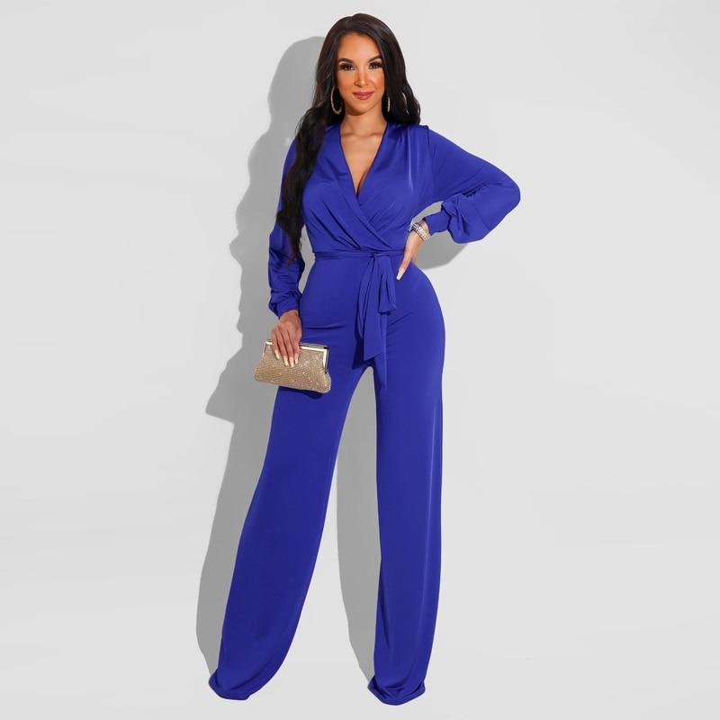 Bulk Items Wholesale Lots Women's Full Length Jumpsuit 2021 OL Solid Long Sleeve Wide Leg Romper Classy Workwear Straight Outfit enlarge