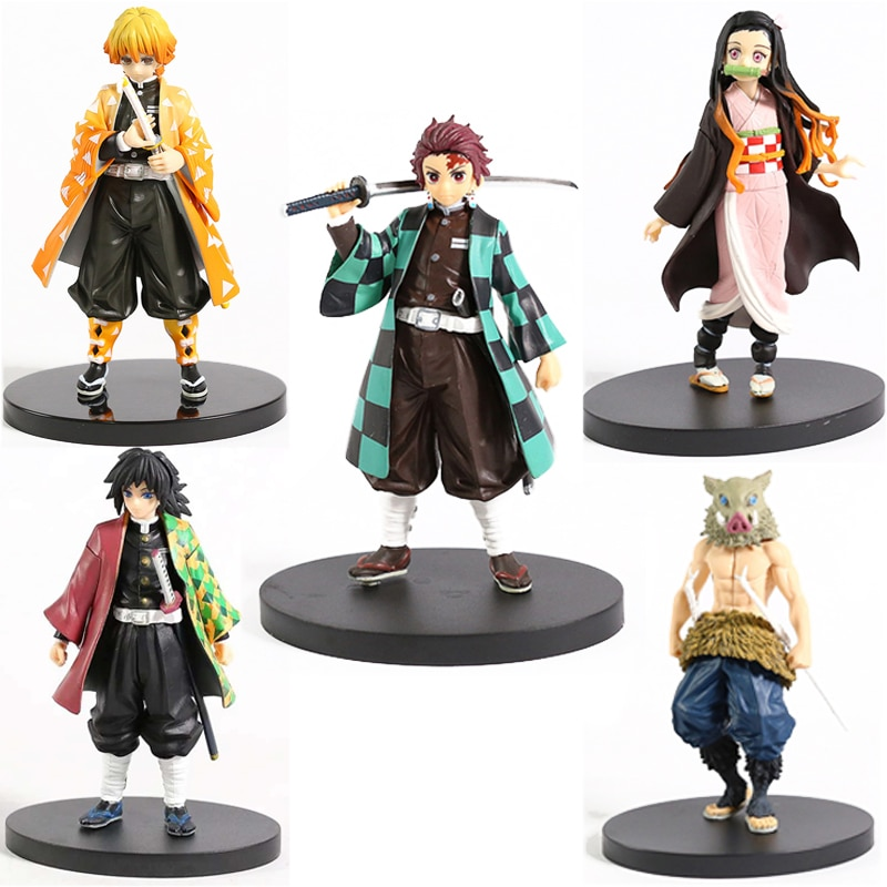 Anime Demon Slayer Figure Kamado Tanjirou Nezuko Action Figures PVC Model Toys Zenitsu Figurine Inosuke Kimetsu No Yaiba Figura