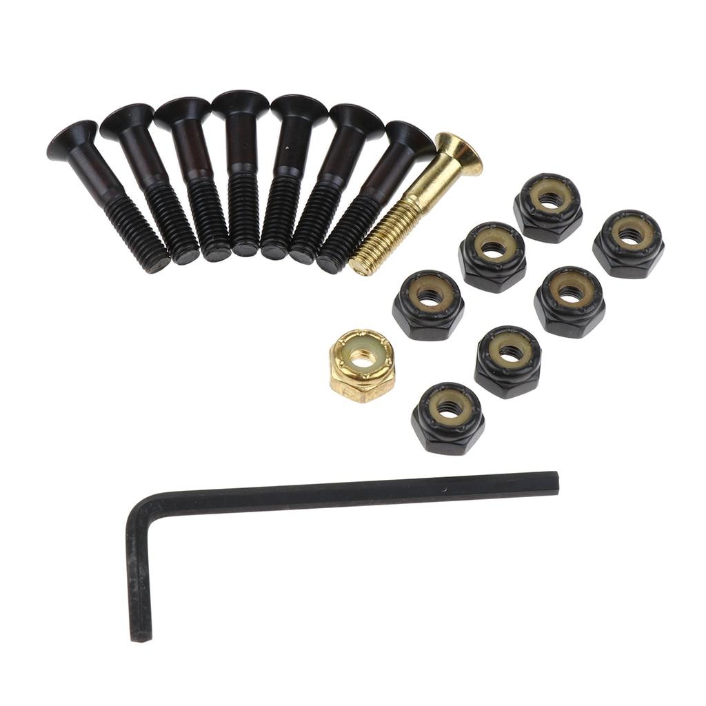 Juego de piezas de repuesto para monopatín, 8 Uds. De tornillos de montaje, tuercas, llave, tornillos y tuercas de seguridad de cabeza plana de acero