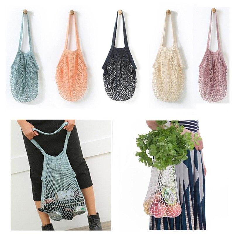 Reusable Fruit Shopping String Grocery Shopper Cotton Tote Mesh Woven Net Shoulder Bag Mesh Net Shopping Bag Dropshipping