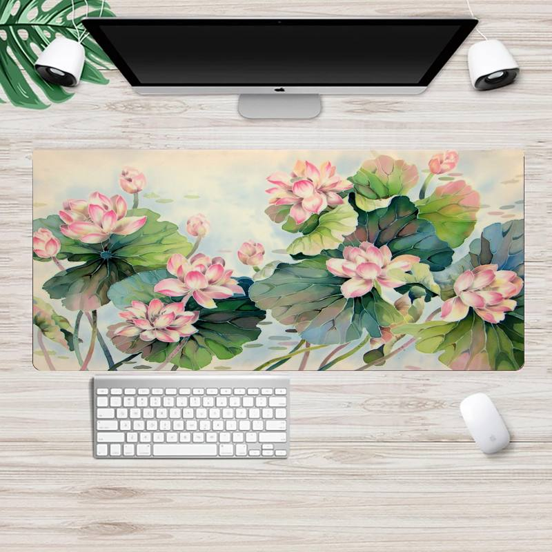 Lotus Chinese painting art Laptop Computer Mousepad XL Large Gamer Keyboard PC Desk Mat Takuo Computer Tablet Mouse mat