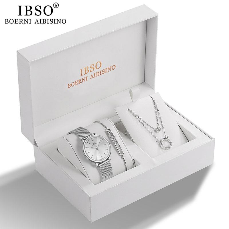IBSO نساء ساعة كوارتز مجموعة كريستال تصميم سوار قلادة ساعة مجموعات مجوهرات نسائية موضة فضة ساعة فاخرة سيدة هدية