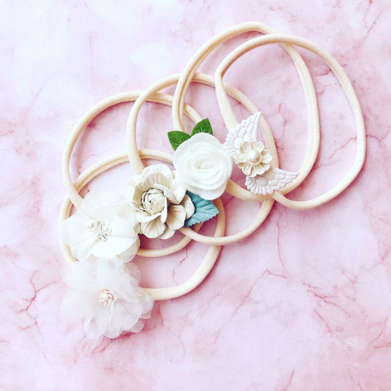 5 Pcs/set Baby Hair Band Flower Shape Handmade Kids Headband Birthday Holiday Photography Props Head Jewelry Gifts