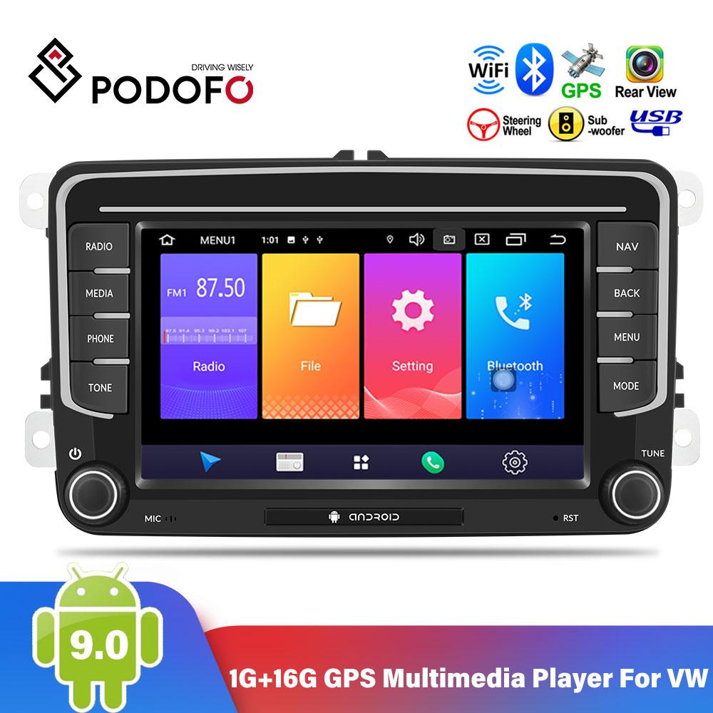 Podofo 2 Din Android 9,0 автомобильный Радио стерео 7 GPS мультимедийный плеер для VW Passat Golf MK5 6 Jetta T5 EOS POLO Touran Seat Shara