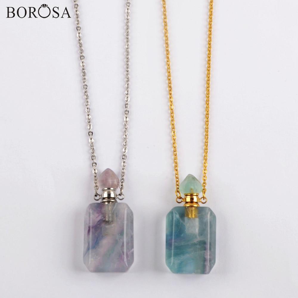 Arco-íris fluorite óleo essencial pingente colar feminino ouro prata chapeado pedras pedras perfume garrafa conector colar wx1619