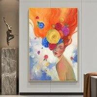 Peinture a lhuile sur toile sans cadre  affiche dart  images de filles sur le mur  decoration de maison moderne