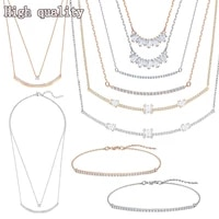 fashion jewelry swa11 high quality charm simple curve crystal u shaped womens clavicle necklace sweet romantic gift wholesale