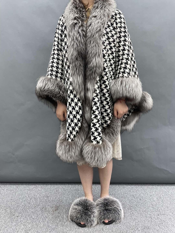 Thousand Bird Women Poncho High Quality Fox Fur Coat Winter Cardigan Warm Fashion Capes