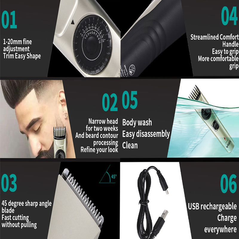 Rechargeable Hair Clipper Men Professional Barber Electric Beard Trimmer Cordless Haircut Machine 1-20mm Adjustable Limit Comb enlarge