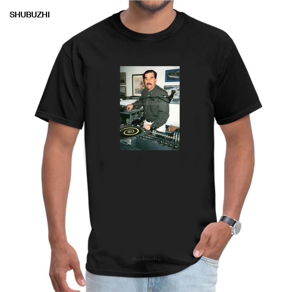 Camiseta DJ Saddam husband 35 Technics 1200 casa de Irak EDM Hip Hop sbz4429 camiseta de moda hombres algodón marca teeshirt