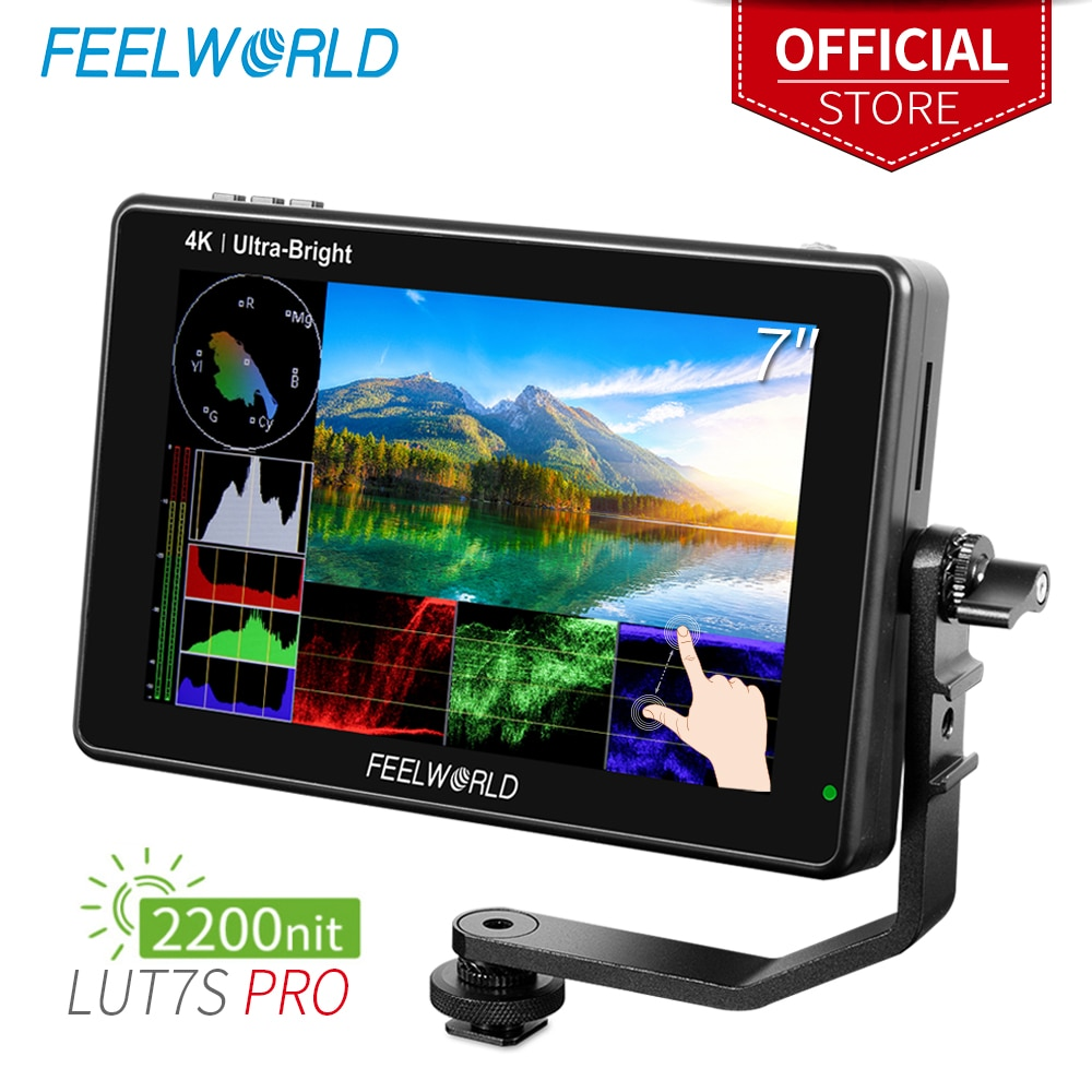 FEELWORLD-شاشة 7 بوصة تعمل باللمس LUT7S PRO ، 2200 شمعة ، 3D LUT ، DSLR ، مدير ميداني لكاميرا AC ، 4K ، مخرج HDMI ، لـ Gimbal