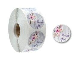 500 th adesivo rolo de flor obrigado você adesivos 100 selo rótulo feito à mão personalizado sucata-reserva para decoração de presente papelaria adesivo