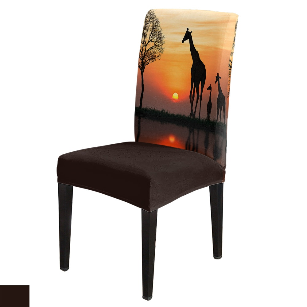 África jirafa amanecer Spandex elástico comedor silla Slipcover extraíble funda de asiento de cocina Stretch silla para banquete