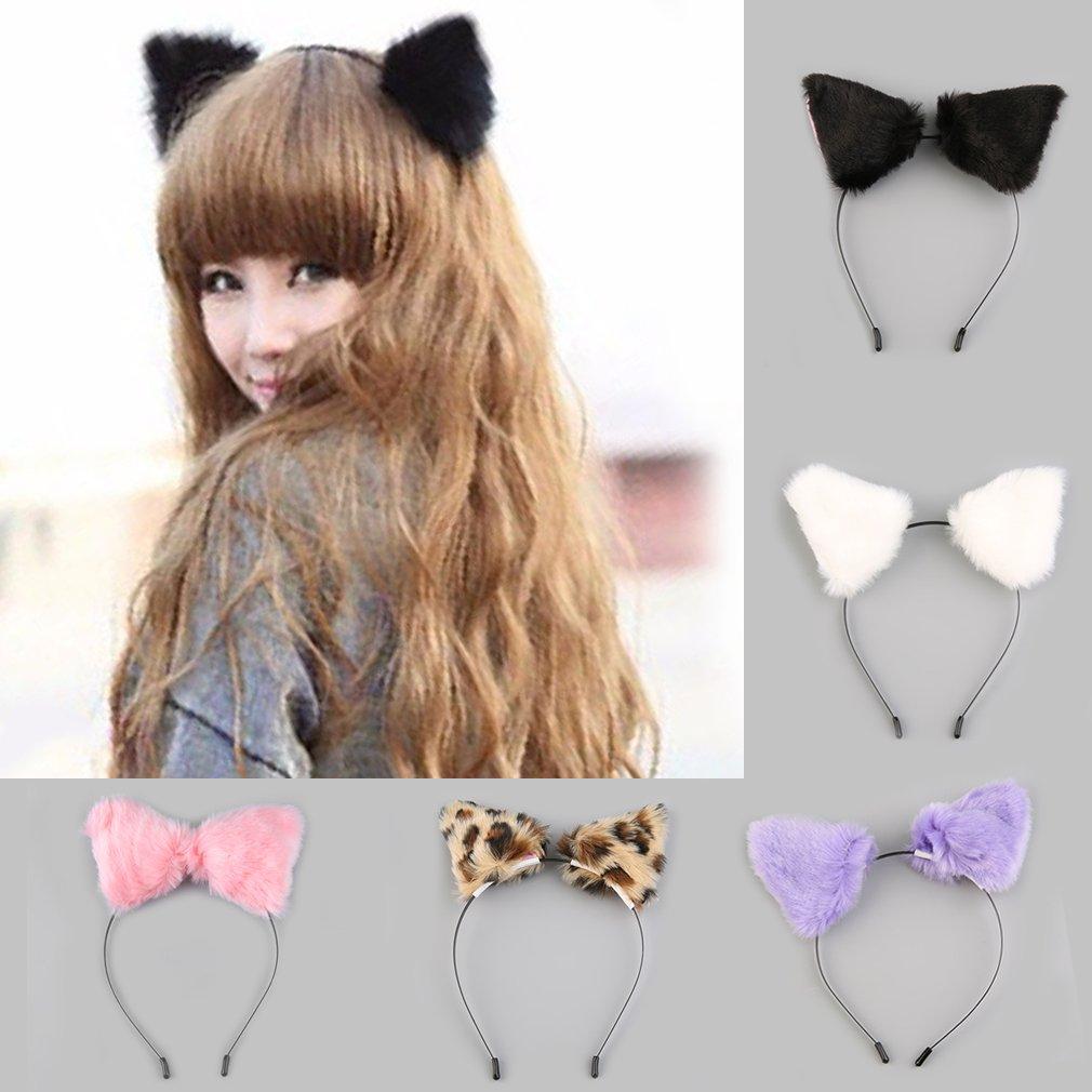 Gato de Halloween de Cosplay esponjoso, disfraz de piel de zorro de imitación, banda para el pelo, negro/Blanco/morado/leopardo/negro y rosa, prendas para cabeza