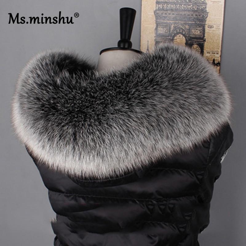 Ms.MinShu Fox Fur Collar For Hood Real Fox Fur Hood Trim Scarf Big Fur Collar 100% Real Fox Fur Coll