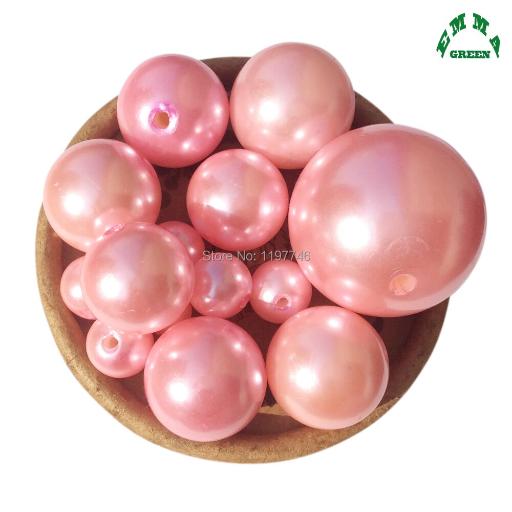 Grânulos de pérola para fazer jóias rosa pérola contas 6mm a 30mm a75 acrílico abs pérolas grânulos redondos rosa grânulos soltos espaçador