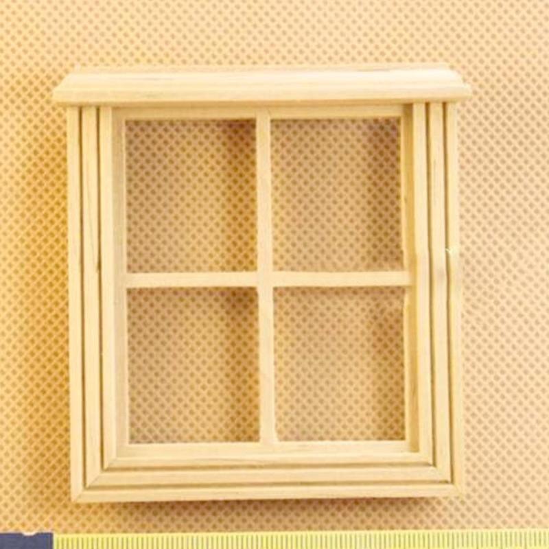 1 pièces 112 maison de poupée accessoires Miniature 4 treillis en bois fenêtre modèle jouet pour maison de poupée scène décoration en bois fenêtre modèle