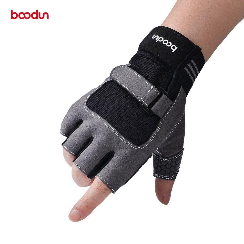 Boodun medio dedo guantes de Fitness mancuernas de gimnasio pesas guantes de culturismo para deporte equipo y entrenamiento de pesas entrenamiento deportivo