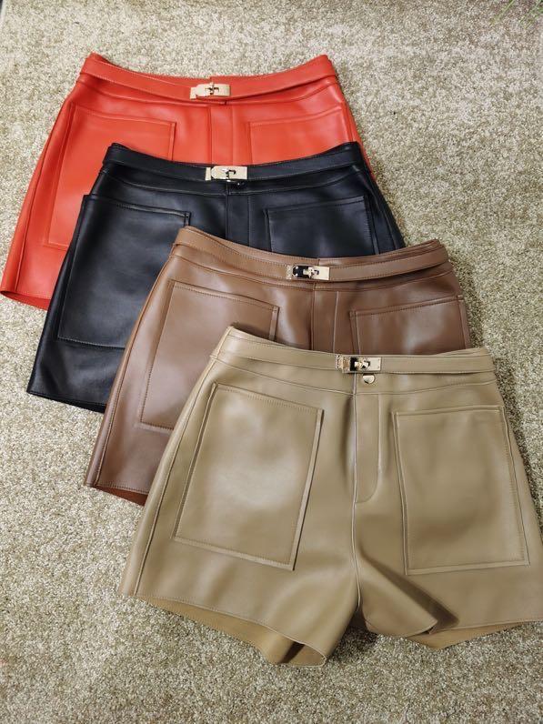 Женские однотонные Короткие Мини-шорты, модельные модные уличные шорты с высокой талией в Корейском стиле из овечьей кожи, Осень-зима 2020