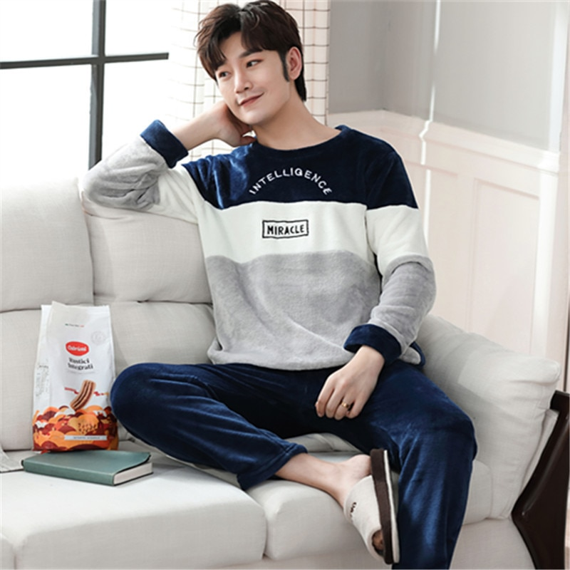 Two Piece Set Winter Pajamas for Men Sleep Tops Sleepwear Homewear Pyjamas Men Clothes Lounge Set La