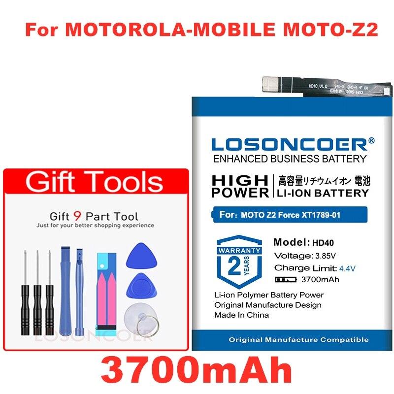 LOSONCOER 3700mAh HD40 SNN5987A batería de buena calidad para Motorola-mobile MOTO-Z2 Force XT1789-01/03/05 baterías de teléfono móvil