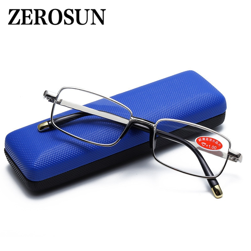 Zerosun óculos de leitura unissex, de vidro, cristal, dioptria hd, presbiopia, óculos para leitura, de alta qualidade