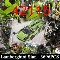 2021 moc building block sian super racing vehicle technical car toys model 3696pcs bricks 42115 gift for boyfriend