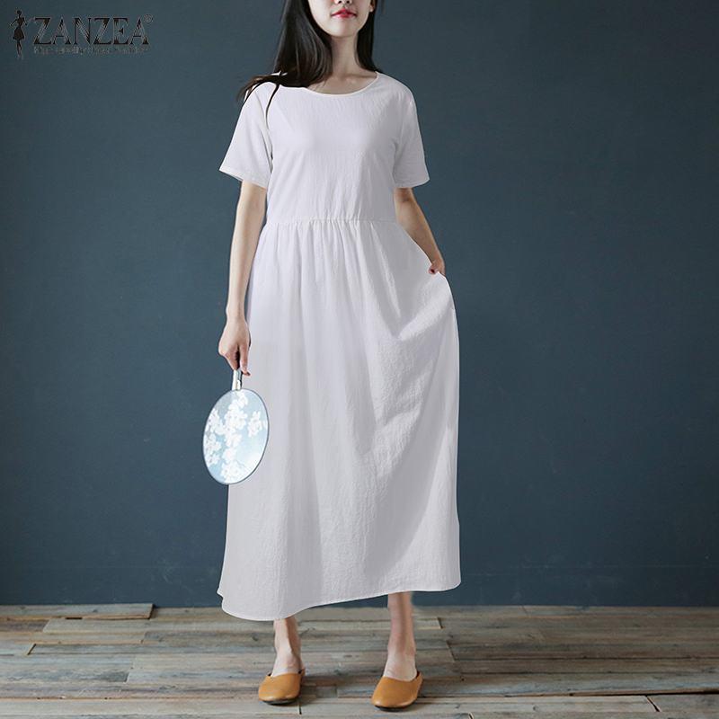 Vestido de verano para mujer ZANZEA 2020 caftán sólido Maxi vestido casual de manga corta túnica Vestidos Mujer cordón bata de talla grande