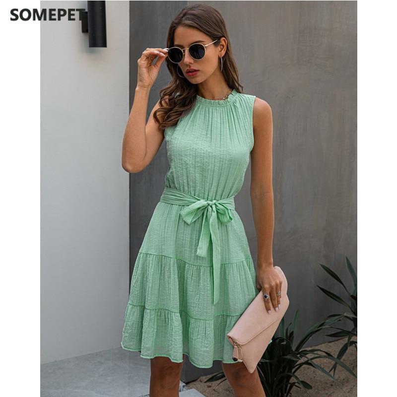 Summer Sweet Pleated Dress A-Line Women Sashes Sleeveless Pure Color Mini Sundress Female Beach Vestido Verano