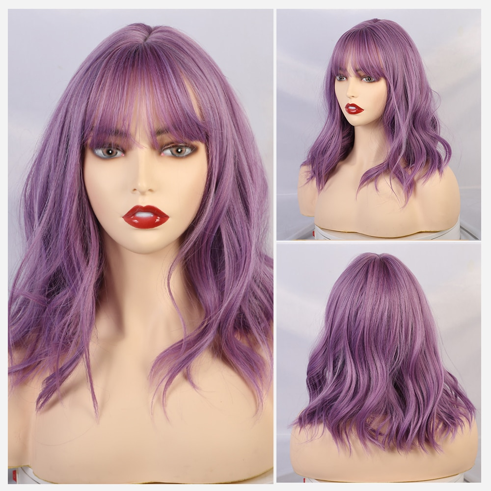 Rubia unicornio peluca corta con flequillo 14 pulgadas de la onda de agua sintético pelucas para mujeres púrpura Cosplay de Lolita mujer diario falso pelo