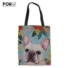 FORUDESIGNS français Bulldog Florals femmes fourre-tout sacs en toile sac à provisions réutilisable filles sac à bandoulière pour Shopper Bolsas de tela