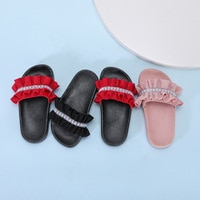 Children's Slippers for Girls Fashion Slippers Pearl Diamond Anti-slip Wear-resistant Indoor Outdoor Kids Sandals Flat Heels