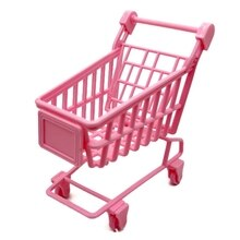Toy Model Kit Shopping Trolley Pretend Play Toy Mini Pink Shopping Cart Role Play Accessory for DIY
