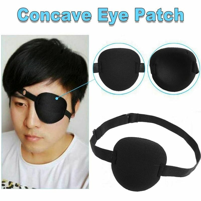Pirate Eye Patch Unisex Black Single Eye Patch Washable Adjustable Concave Eye Patch Medical Patch C