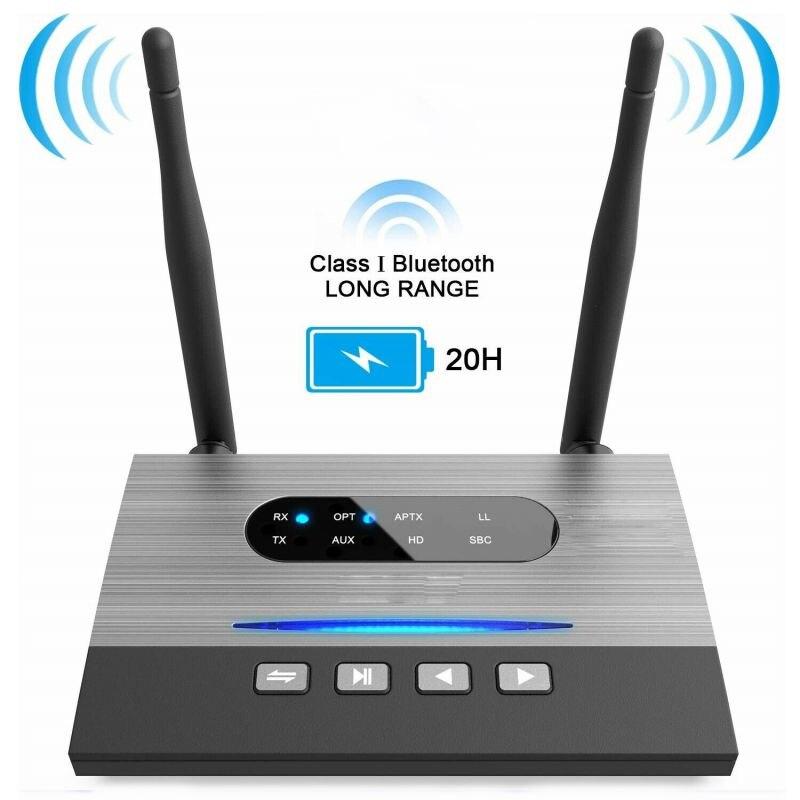 Aux волоконно-оптический Bluetooth передатчик приемник адаптер NFC 262ft/80 м длинный диапазон Музыка Аудио адаптеры aptX HD Spdif RCA AUX 3,5 мм