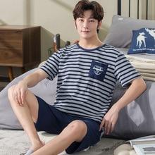Hommes pyjamas manches courtes Shorts été tricoté coton col rond peut être porté à lextérieur grande taille Service à domicile costume Pigiama Uomo