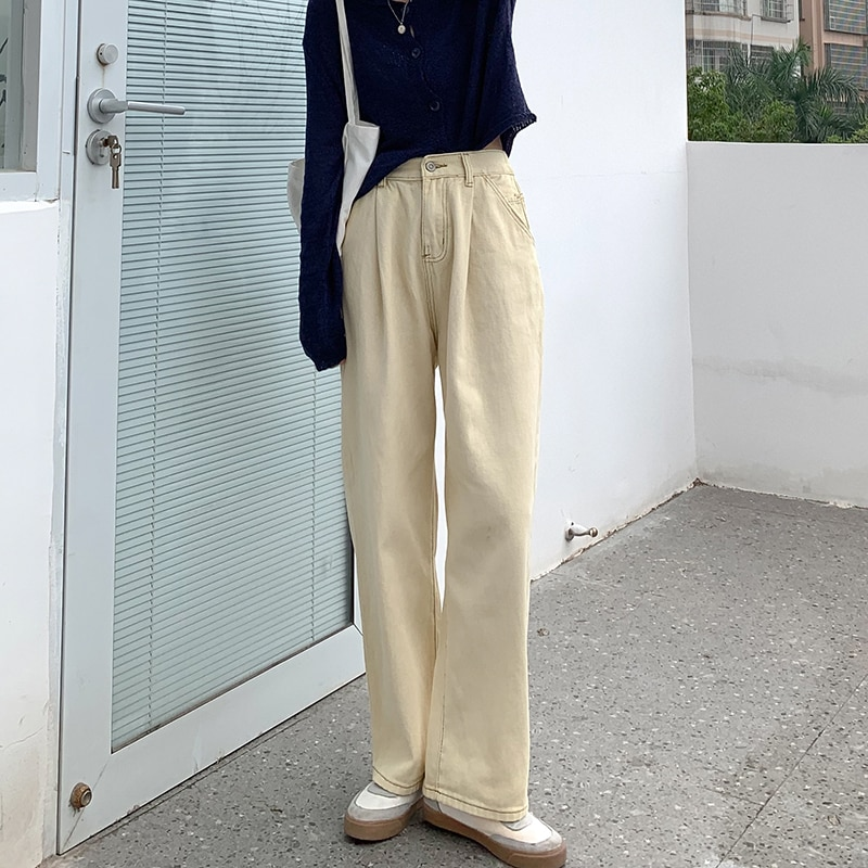 2021 Spring and Summer New Beige High Waist Slimming and Straight Jeans Women's Small Casual Trouser