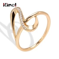kinel luxury natural zircon waves rings for women fashion vintage 585 rose gold wedding jewelry crystal gift