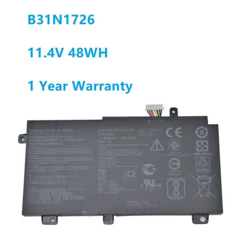 Bateria de laptop b31n1726, 3icp7/60/80 para asus fx80 fx80gd fx86 fx86fm fx86fe fx504 fx505 series b31n1726 11.4v 48wh