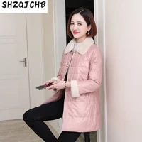 shzq sheep 2021 new leather down jacket womens middle and long korean small xiangfeng collar leather jacket sheep skin winter