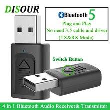 DISOUR USB Bluetooth 3,5mm Jack Audio Adapter 4 IN 1 Wireless Bluetooth Empfänger Sender Für TV Auto PC NEUESTE stereo Dongle