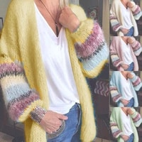 trendy knitted cardigan striped mohair sweater fall winter soft women tops long sleeve loose coat longue jacket outer garment