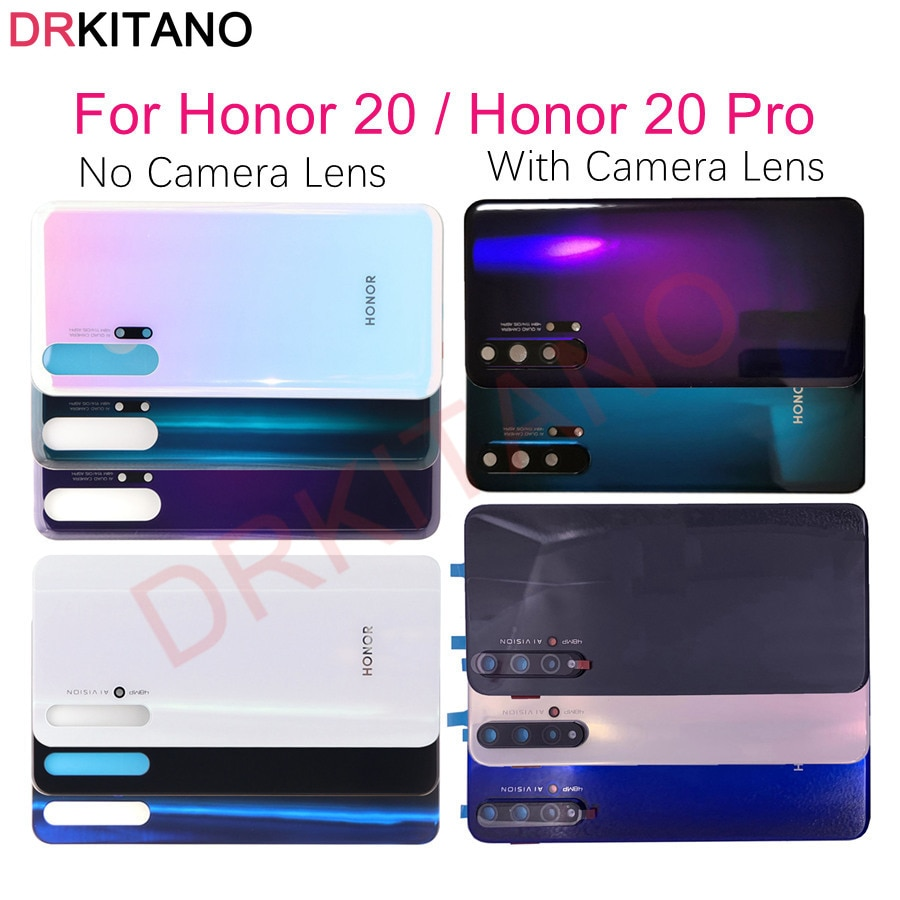 Back Glass Cover For Huawei Honor 20 Battery Cover Rear Door Housing Case Window Back Panel For Hono