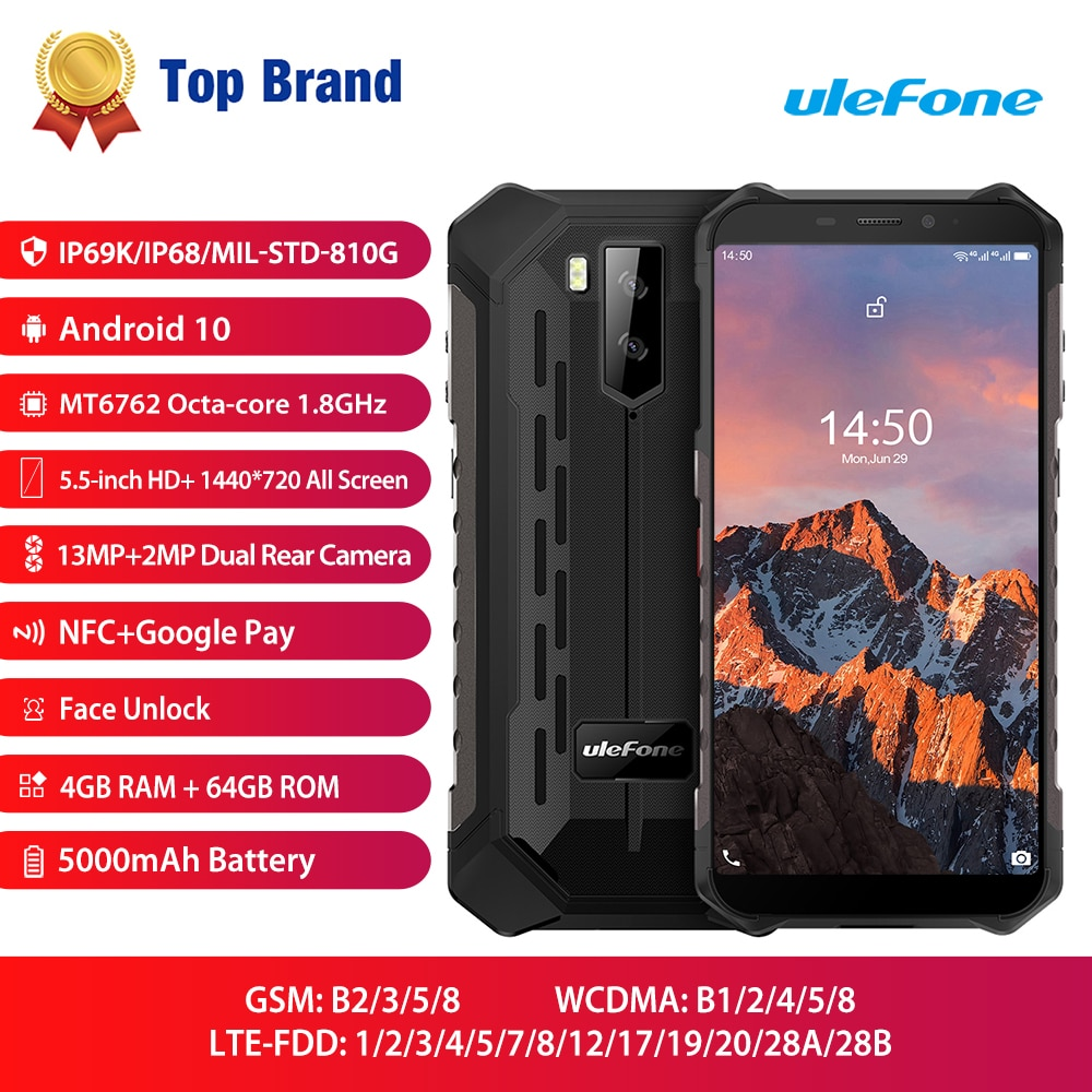 Ulefone Armor X5 Pro Waterproof Mobile Phone Rugged NFC 4G LTE  4GB+64GB Smartphone Android 10.0 CellPhone Octa-core Processor