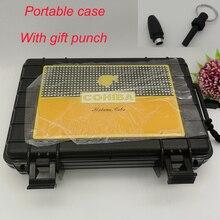 COHIBA negro portátil de viaje caja de cigarros hidratante a prueba de agua humidificador juego de cigarros 5 caja de humidificador de cigarros con regalo de ponche de cigarros