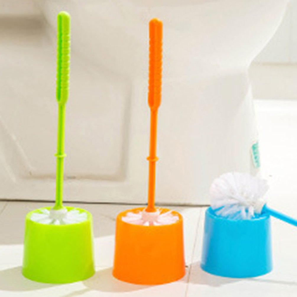 1Pcs Toilet Brush Holder Bathroom Set Tool Plastic Long Handle WC Accessories Standing Cleaning Brushes With Base Random Color