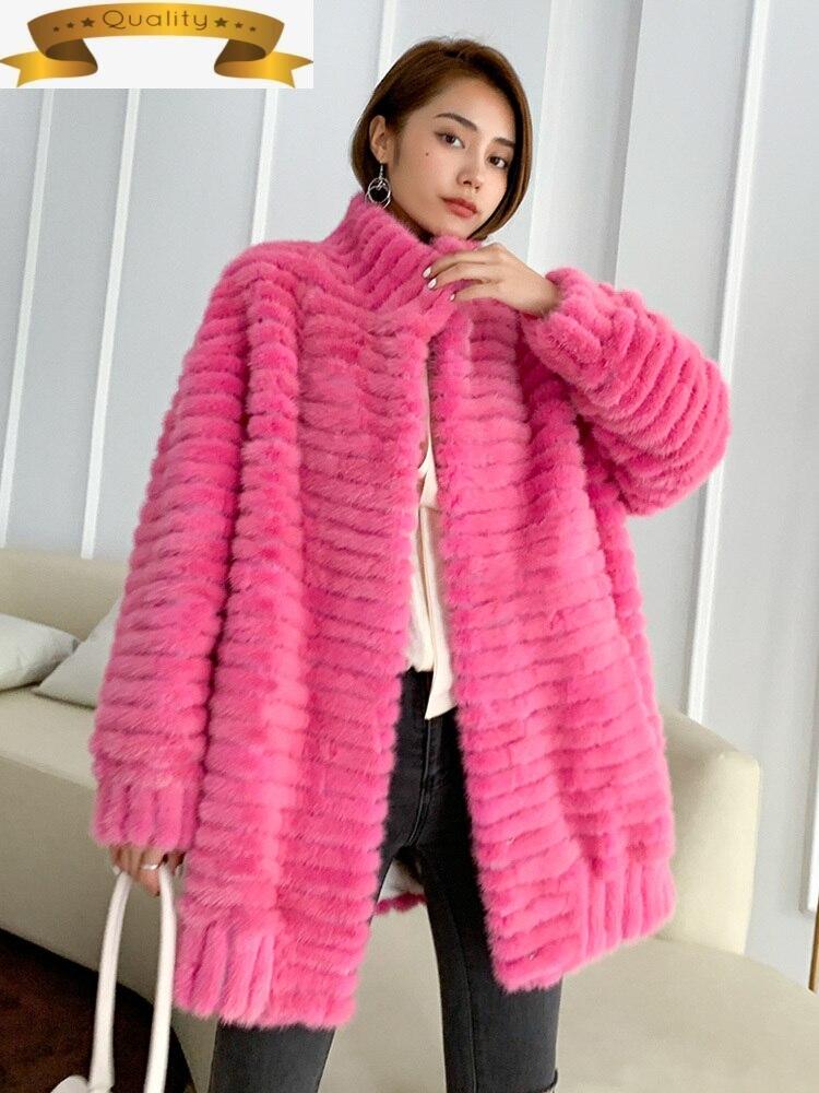 Abrigo de piel de visón auténtica de invierno chaqueta de las mujeres...