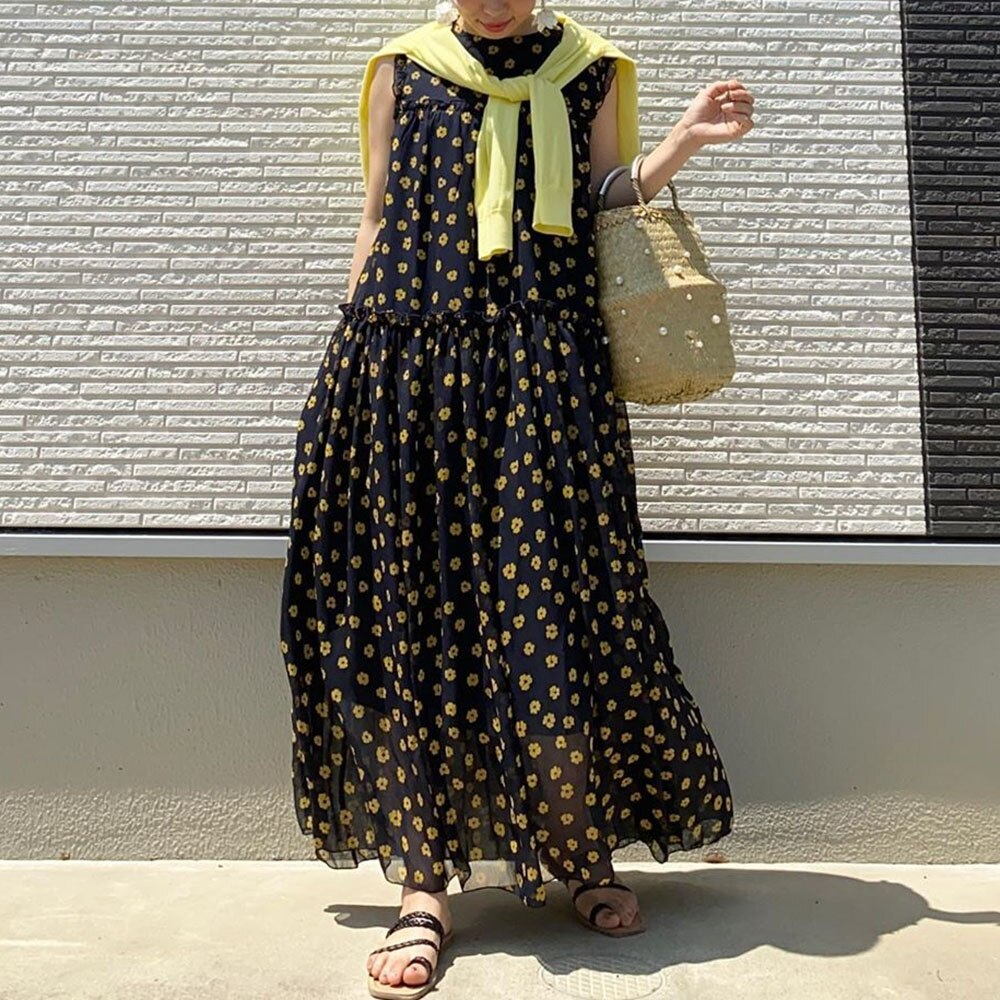 Summer Dress For Women One-piece Floral Print Dress Summer Sleeveless Ankle-Length Maxi O Neck A-Lin