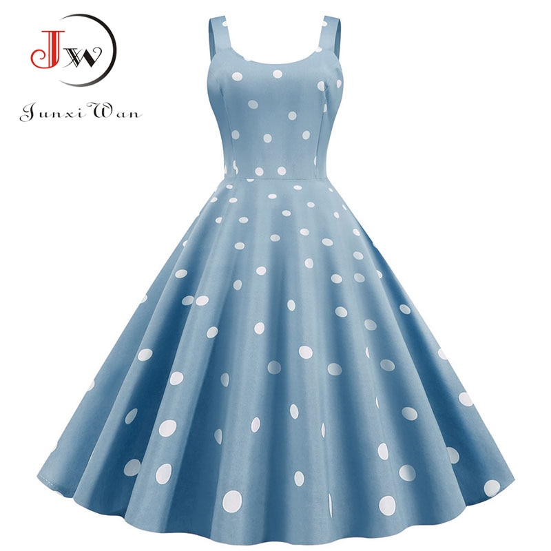 Women Summer Sexy Party dress Casual Polka Dot Print Hepburn Vintage Dress Robe Femme Plus Size Spaghetti Strap Midi Dress