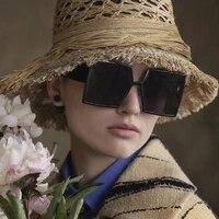 oversized square frame women men sunglasses gray tan lens uv400 eye protection girl sexy ladies outdoor eyewear